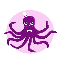 funny octopus in the hat vector image