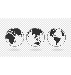 globes earth linear icons collection isolated vector image