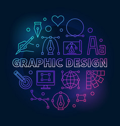 Graphic design colored round line vector