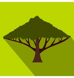 Green tree with a spreading crown icon flat style vector