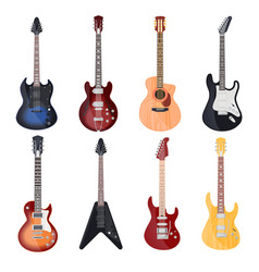 guitars different styles electric and rock bass vector image