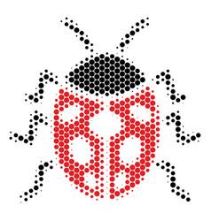 Halftone dot ladybird bug icon vector