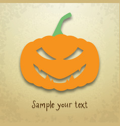 Halloween card with sly pumpkin vector