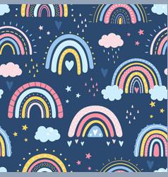 Hand drawn rainbow in cartoon scandinavian vector