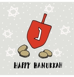 Hanukkah greeting card with hand drawn dreidle vector