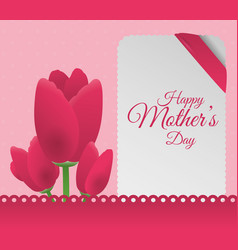 happy mothers day flowers decoration card vector image vector image