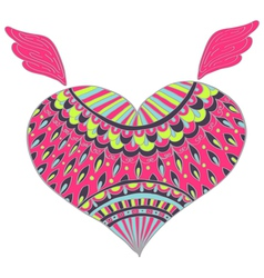 Heart with ornament vector