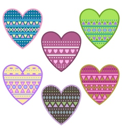 Hearts with geomertical ornament vector