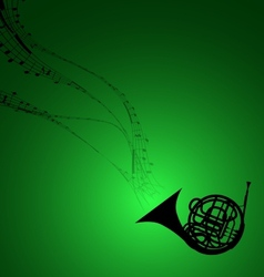 Horn with Musical Symbols vector image