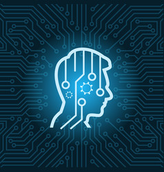 human head digital thinking icon over blue circuit vector image