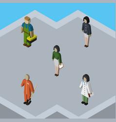 isometric people set of doctor girl plumber and vector image