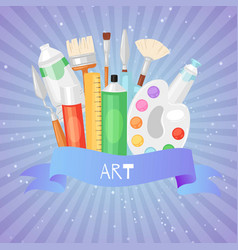 items for art blue background set brushes artist vector image