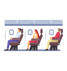 Journey by plane passengers sitting in seats vector