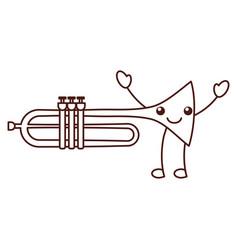 Kawaii trumpet instrument musical festival vector