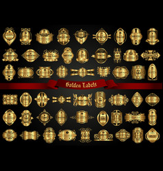 Large collection various golden labels vector