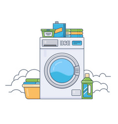laundry room with working washing machine thin vector image