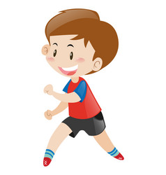 little boy in red shirt running vector image