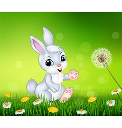Little bunny walking on grass background vector