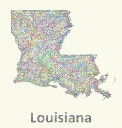 Louisiana line art map vector image