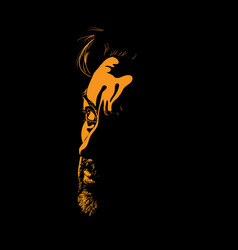 Man portrait silhouette in backlight contrast face vector
