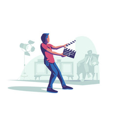 man with clapperboard vector image