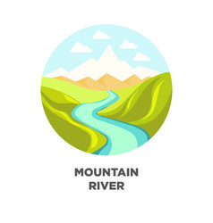 Mountain river landscape isolated icon for vector