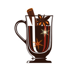 Mulled wine in glass isolated icon vector
