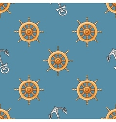 Nautical or marine themed seamless pattern with vector