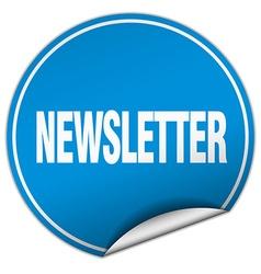 Newsletter round blue sticker isolated on white vector