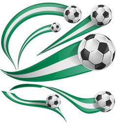 nigeria flag set with soccer ball vector image