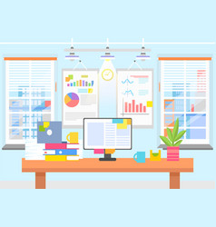 office interior with graphics and charts on wall vector image