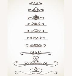 Ornamental calligraphic line page decoration vector