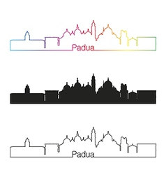 Padua skyline linear style with rainbow vector