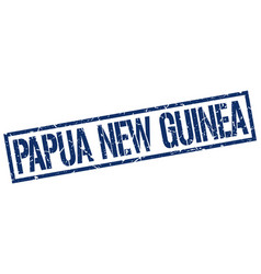 Papua new guinea blue square stamp vector
