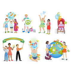 people in peace world kids on planet earth vector image
