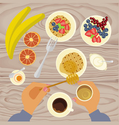 person is eating breakfast vector image