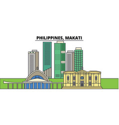 philippines makati city skyline architecture vector image
