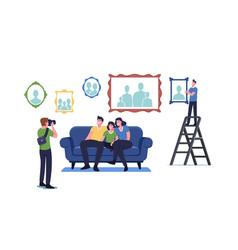 photographer shoot family sitting on couch happy vector image