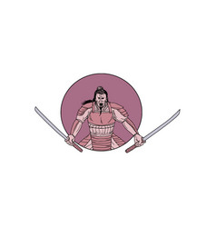 Raging samurai warrior two swords oval drawing vector