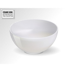 realistic white bowl on transparent vector image