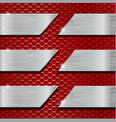 Red metal perforated background with steel plates vector