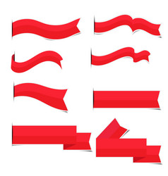 red paper ribbon stickers with shadows vector image