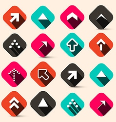 Retro Arrows Set in Squares Isolated on Retro vector image