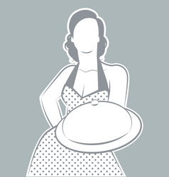 retro housewife cook wearing polka dot dress vector image