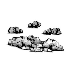 rocks stones sketch set vector image