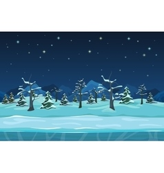 Seamless cartoon winter night landscape vector image
