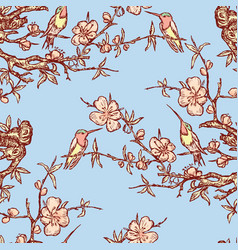 Seamless pattern hummingbirds on blooming vector