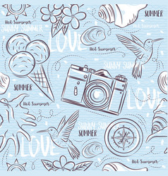seamless patterns with summer symbols vector image