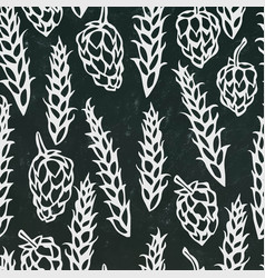 seamless with hop and malt beer pattern isolated vector image vector image