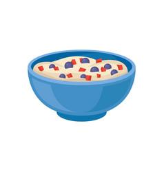 Semolina porridge with blueberries and pieces of vector